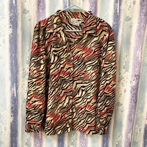Vintage Colorful Zebra print blouse size 14